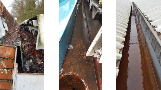 Before and After Industrial Gutter Maintenance
